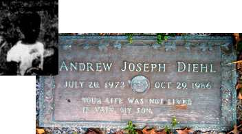 A gravestone. It reads: Andrew Joseph Diehl. July 20, 1973 to October 29, 1986. Your life was not lived in vain, my son. Inset: A poor-quality black-and-white newspaper photo of a dark-skinned boy in a white T-shirt.