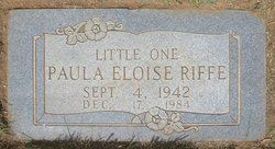 A gravestone reading, Little one. Paula Eloise Riffe. September 4, 1942 to December 17, 1984.