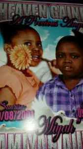 A poster from Tamiyah Audain's funeral, showing two photos of her, one with a flower clenched between her teeth.