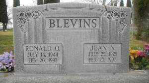 Gravestone for Jean and Ronald Blevins.