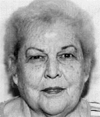 Black and white photo of Peggy Mehrman, an elderly woman.