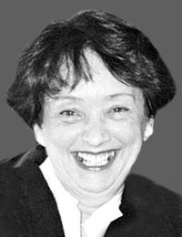 Black and white photo of Marie-Nicole Rainville, a middle-aged woman.